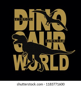 dinosaur world silhouette typographic t shirt design vector