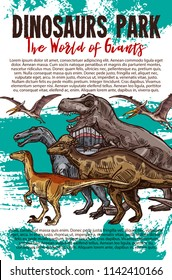 Dinosaurs adventure park banner with dino sketch. Tyrannosaurus rex, velociraptor and pterodactyl, stegosaurus and corythosaurus prehistoric jurassic animal for paleontology museum flyer design