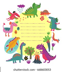 Dinosaurs background, form for text.