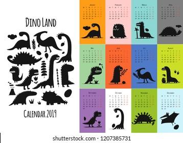 Dinosaurs, calendar 2019 design