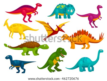 Dinosaurs Cartoon Collection Cute Trex Tyrannosaurus Stock Vector