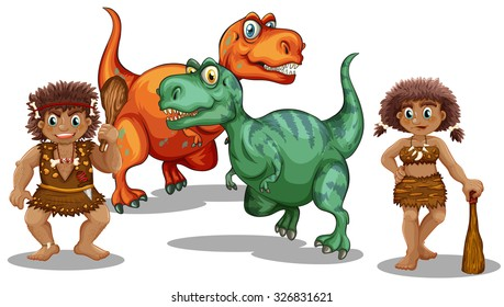 Dinosaurs and cave people illustration