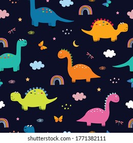 Dinosaurs and clouds in the sky Seamless pattern cute cartoon animal background Hand drawn in child style Design, used for printing, wallpaper, fabric, textile Vector illustration