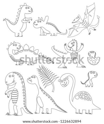 Dinosaurs Coloring Book Coloring Book Dinosaur Stock Vector (Royalty ...