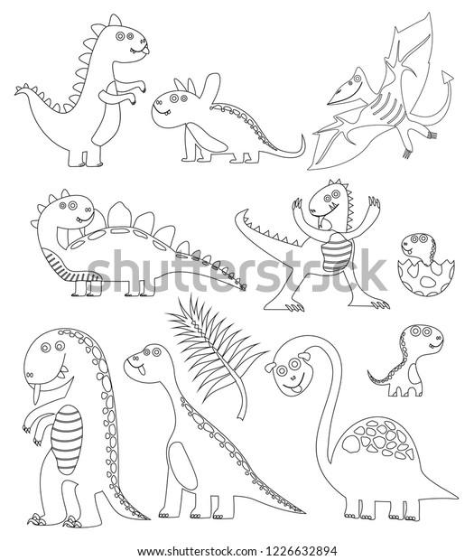 Dinosaurs Coloring Book Coloring Book Dinosaur Stock Vector ...