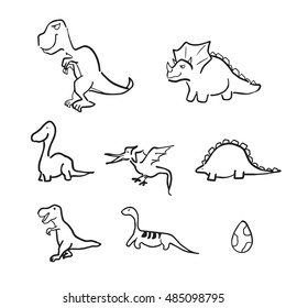 Dinosaurs doodle cartoon line drawing