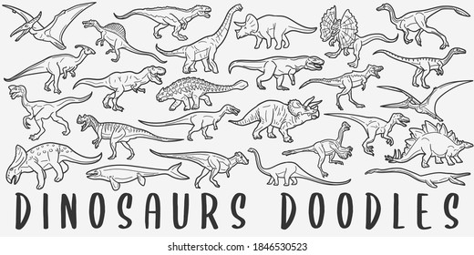 Dinosaurs doodle icon set. Prehistoric Animals Vector illustration collection. Banner Hand drawn Line art style.