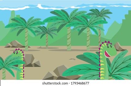 Dinosaurs eating palmtrees on Pre Historic Land