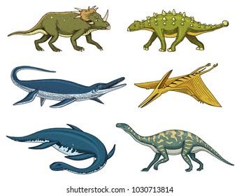 Dinosaurs Elasmosaurus, Mosasaurus, Barosaurus, Diplodocus, Pterosaur, Ankylosaurus, Velociraptor, fossils, winged lizard. American Prehistoric reptiles, Jurassic Animal engraved Hand drawn vector.