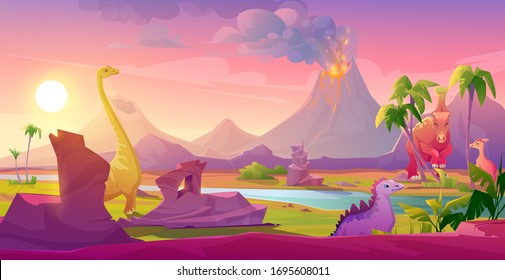 Dinosaurs at erupting volcano landscape. Prehistoric volcanic eruption background, palm trees sky with shining sun. Jurassic era of Earth evolution, tropical scenery land cartoon vector illustration