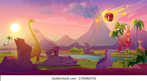 Dinosaurs extinct with meteorite falling on Earth. Asteroid explosion in end of Jurassic, Cretaceous or Triassic prehistoric era with erupting volcano. Planet evolution cartoon vector landscape, panic