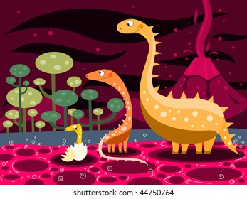 Dinosaurs family and volcano -vector