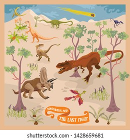 Dinosaurs forest fantasy map sene of ancient paleontological world and animals 4 The Last Fight
