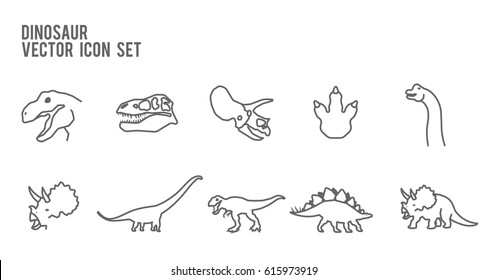 Dinosaurs Fossil Outline Icon Set. Included the icons as footprint, trex, tyrannosaurus, triceratop, skeleton, stegosaurus, brachiosaurus, brontosaurus and more.