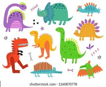 Dinosaurs  funny vector set