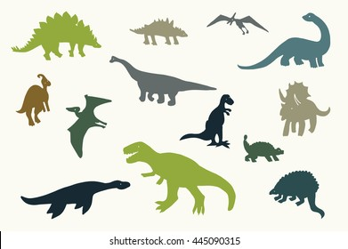 dinosaurs graphic vector silhouette set