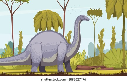 Dinosaurs horizontal vector illustration with diplodocus cartoon image as longest and largest herbivorous dinosaur