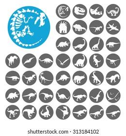 Dinosaurs icons set. Illustration EPS10