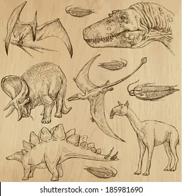 DINOSAURS -Life in prehistoric times (set no. 4) - Collection of an hand drawn illustrations. Description: Each drawing comprise of two layer of outlines, colored background is isolated.