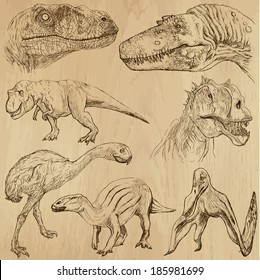 DINOSAURS -Life in prehistoric times (set no. 2) - Collection of an hand drawn illustrations. Description: Each drawing comprise of two layer of outlines, colored background is isolated.