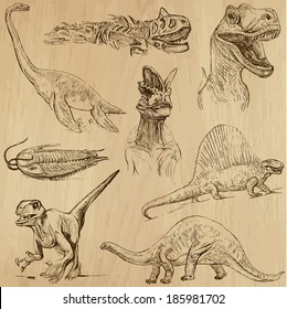 DINOSAURS -Life in prehistoric times (set no. 1) - Collection of an hand drawn illustrations. Description: Each drawing comprise of two layer of outlines, colored background is isolated.