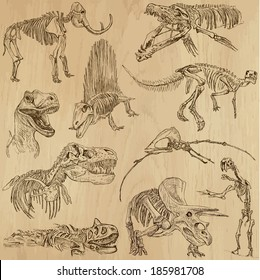 DINOSAURS -Life in prehistoric times (set no. 5) - Collection of an hand drawn illustrations. Description: Each drawing comprise of two layer of outlines, colored background is isolated.