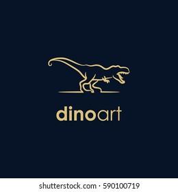 dinosaurs line company logo. wild animal logo with minimalist concept