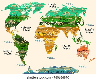 Dinosaurs map of the world for children and kids
