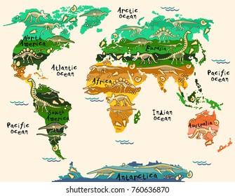 World Map Animals Kids Images Stock Photos Vectors Shutterstock