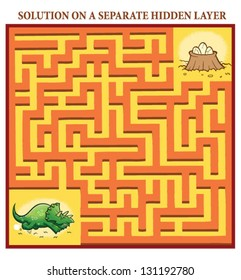Dinosaur's Maze Game (help the lost dinosaur find the right way home to her nest with eggs) - Maze puzzle with solution