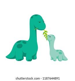 Dinosaurs - mother feeding baby (diplodocus) in flat style for designing  dino related materials. For Mother's day greeting card, poster, banner, logo, icon. Jurassic park theme, baby dino children