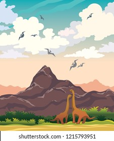 Dinosaurs, mountains and prehistoric plants on a blue cloudy sky background. Vector nature landscape with extinct animals - pterodactyl and diplodocus.