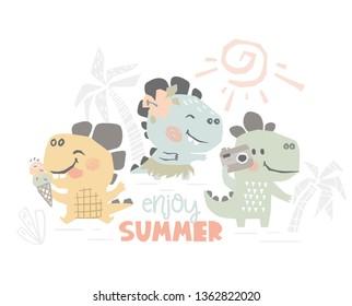 Dinosaurs on beach baby cute print. Sweet dino summer leisure. Enjoy summer slogan. Cool illustration for nursery t-shirt, kids apparel. Simple child design. Eat ice cream, dancing Hawaiian, photo