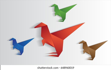 dinosaurs origami vector, cute, beast. purpose for kid or logo with gradient.