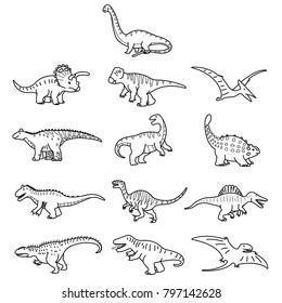 Dinosaurs outline illustration