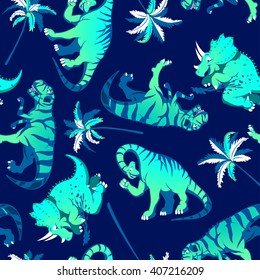 Dinosaurs with palm trees in a seamless pattern .
