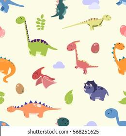 Dinosaurs pattern - cartoon vector illustration