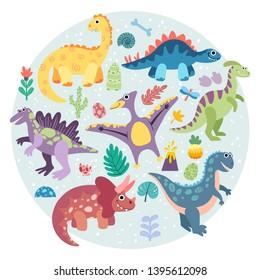 Dinosaurs, prehistoric animals. Vector flat hand drawn dino, kid illustration. Triceratops, t-rex, pteranodon, spinosaurus, stegosaurus, velociraptor, parasaurolophus, brontosaurus.