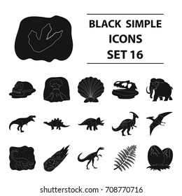 Dinosaurs and prehistoric set icons in black style. Big collection of dinosaurs and prehistoric vector symbol stock illustration
