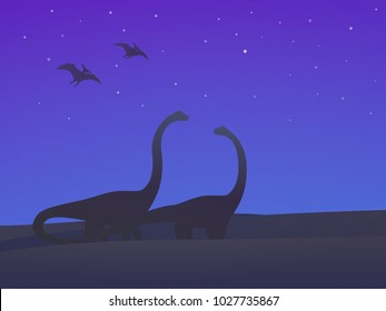 dinosaurs, sauropods and pterodactyls at night vector illustration