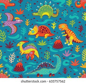 Dinosaurs seamless pattern in cartoon style. Prehistoric period. Vector illustration. The background is made in blue colors. Ideal for wrapping paper, fabric textile design, banner, party invite