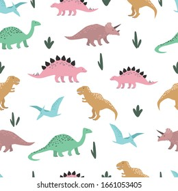 Dinosaurs seamless pattern. Colorful characters on white background. Hand drawn vector wrapping paper template.