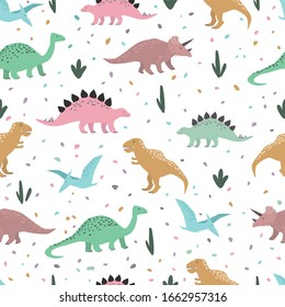 Dinosaurs seamless pattern. Colorful characters, plants and abstract confetti on white background. Hand drawn vector childish wrapping paper template.