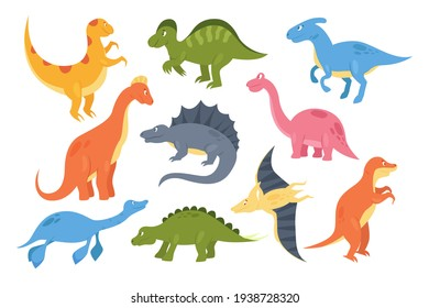 Dinosaurs set, colorful prehistoric animal monsters, baby dino paleontology collection