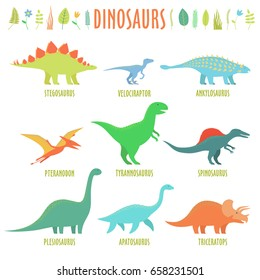 Dinosaurs set. Types of dinosaurs isolated on white. Stegosaurus, velociraptor, ankylosaurus, pteranodon, tyrannosaurus, ankylosaurus, apatosaurus, plesiosaurus, triceratops.