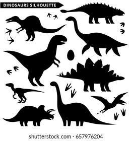 Dinosaurs silhouette set. Types of dinosaurs isolated on white. Stegosaurus, velociraptor, ankylosaurus, pteranodon, tyrannosaurus, ankylosaurus, apatosaurus, plesiosaurus, triceratops.