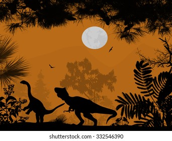 Dinosaurs silhouettes in beautiful landscape on orange background, vector illustration