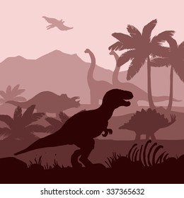 Dinosaurs silhouettes in prehistoric environment overlapping layers in brown shades decorative background banner abstract vector illustration