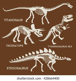 Dinosaurs silhouettes set. Vector flat set illustration