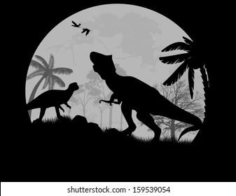 Dinosaurs Silhouettes - Tyrannosaurus T-Rex  in front a full moon, vector illustration